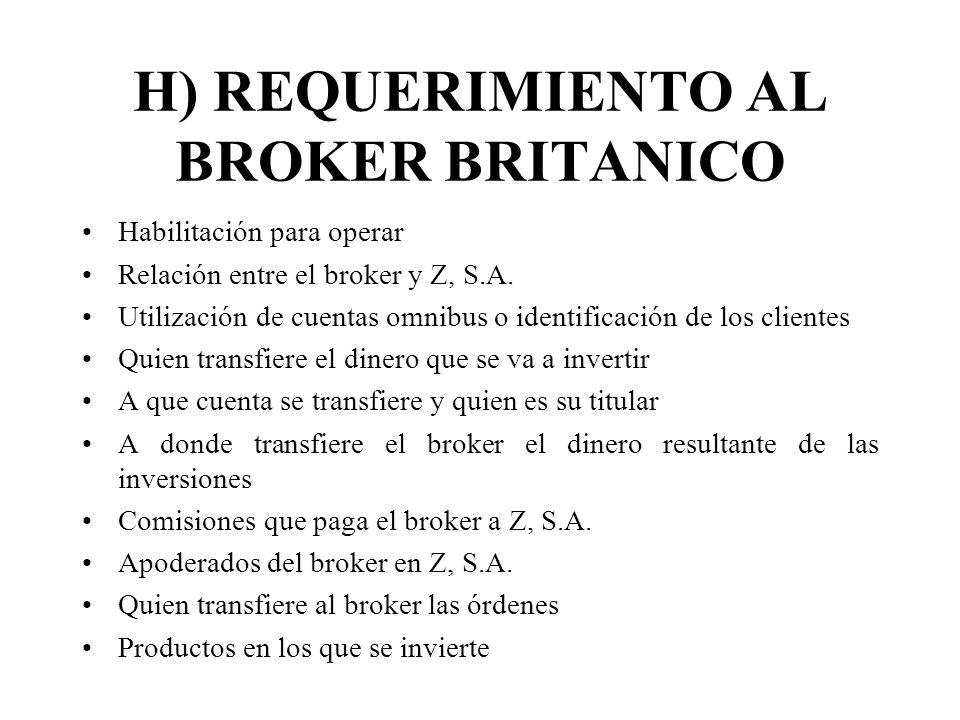 H) REQUERIMIENTO AL BROKER BRITANICO