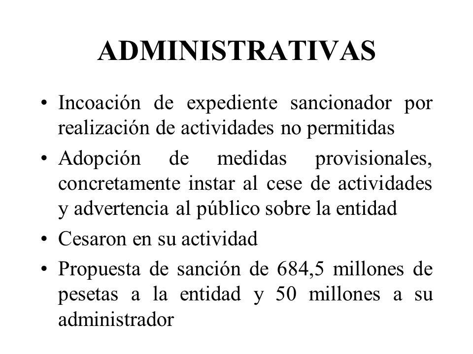 ADMINISTRATIVAS Incoación de expediente sancionador por realización de actividades no permitidas.