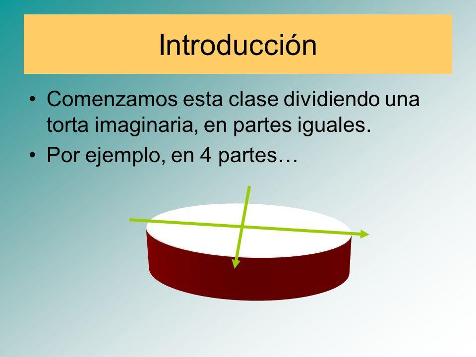 Introducción Comenzamos esta clase dividiendo una torta imaginaria, en partes iguales.