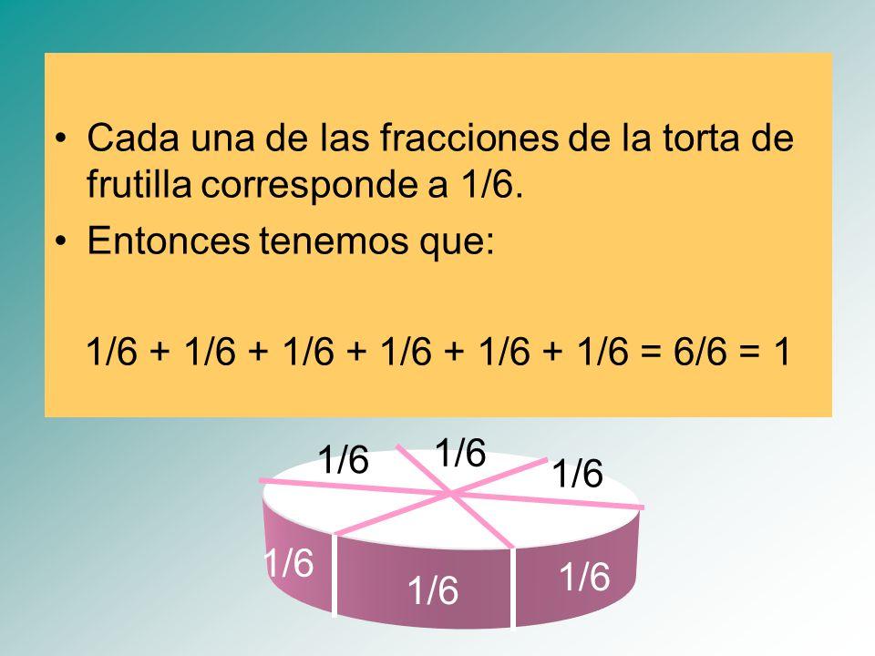 Cada una de las fracciones de la torta de frutilla corresponde a 1/6.