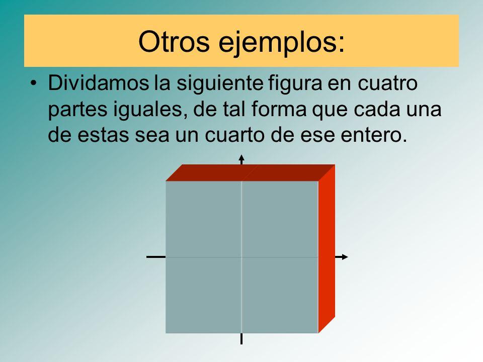 Otros ejemplos: Dividamos la siguiente figura en cuatro partes iguales, de tal forma que cada una de estas sea un cuarto de ese entero.
