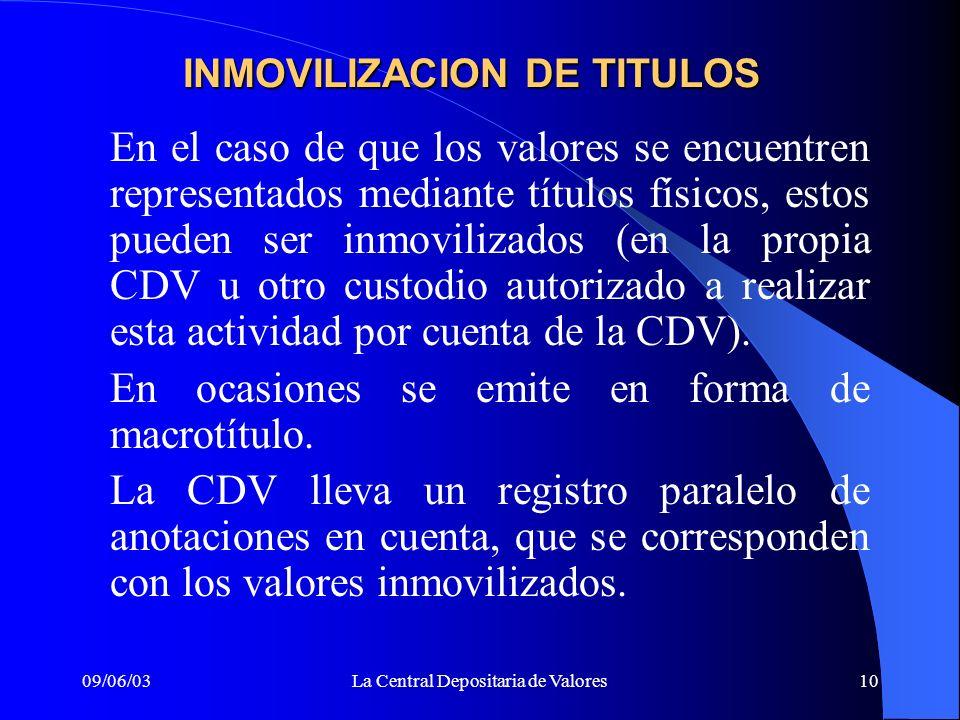 INMOVILIZACION DE TITULOS
