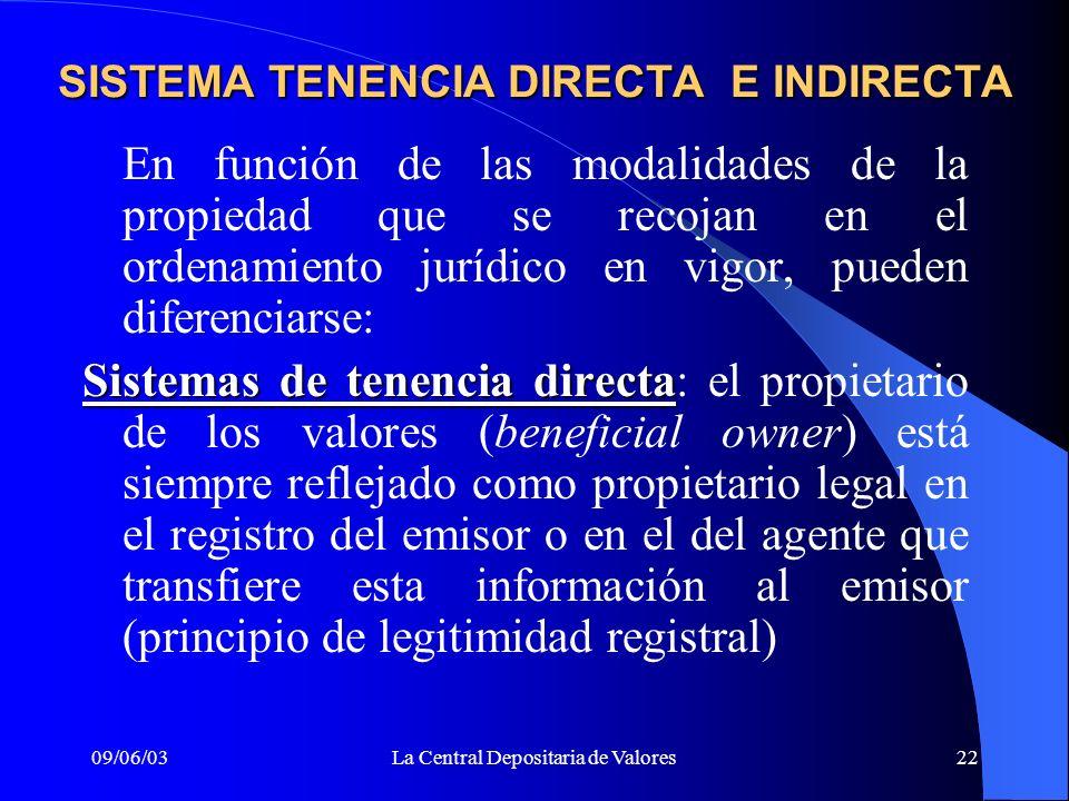 SISTEMA TENENCIA DIRECTA E INDIRECTA