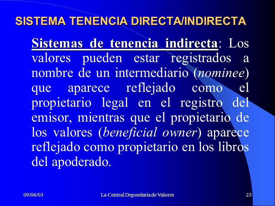 SISTEMA TENENCIA DIRECTA/INDIRECTA