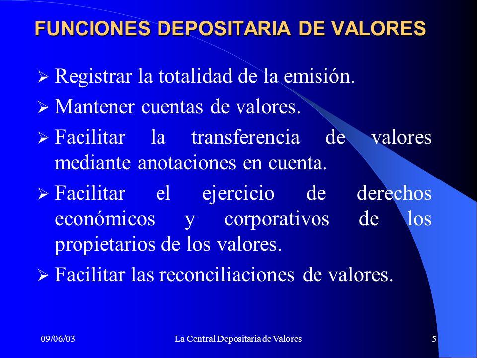FUNCIONES DEPOSITARIA DE VALORES
