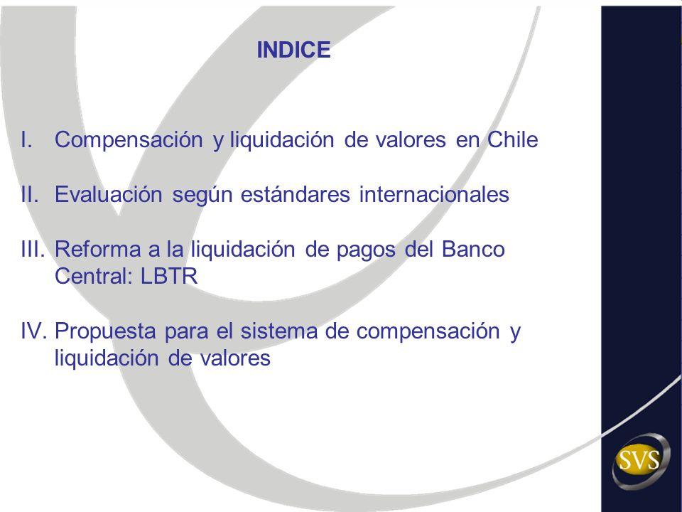 INDICE Compensación y liquidación de valores en Chile. Evaluación según estándares internacionales.