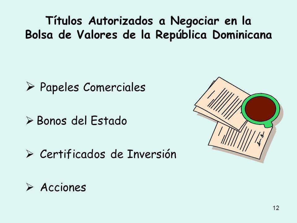 Títulos Autorizados a Negociar en la Bolsa de Valores de la República Dominicana