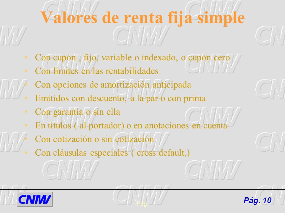 Valores de renta fija simple