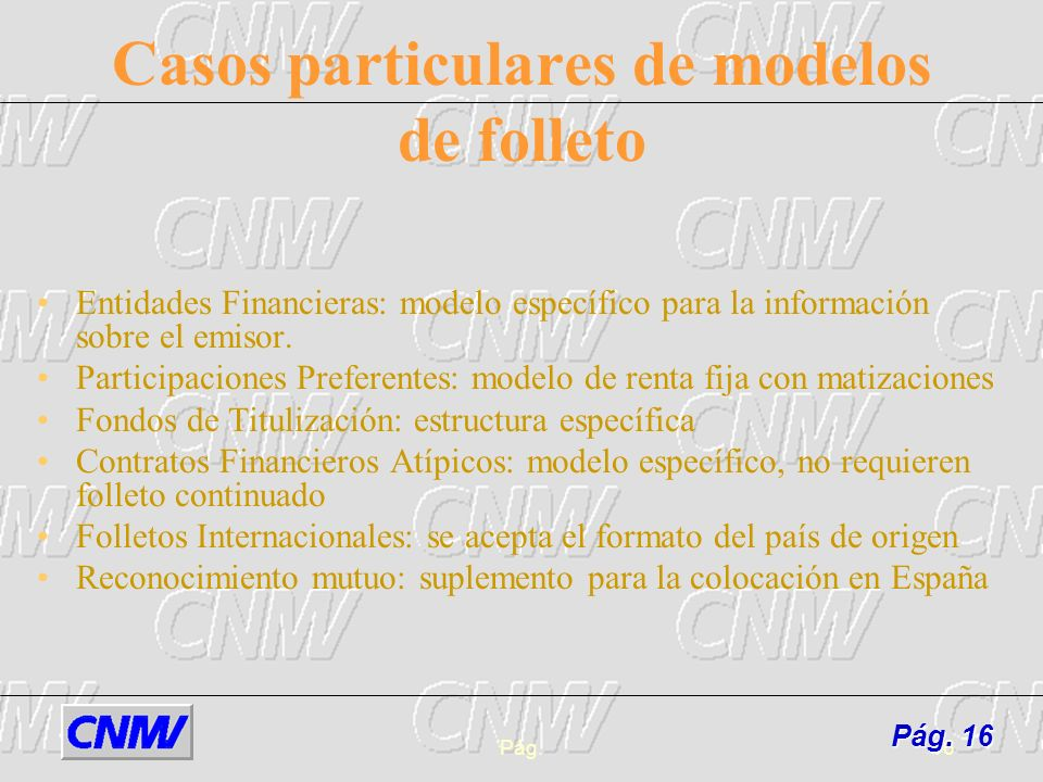 Casos particulares de modelos de folleto