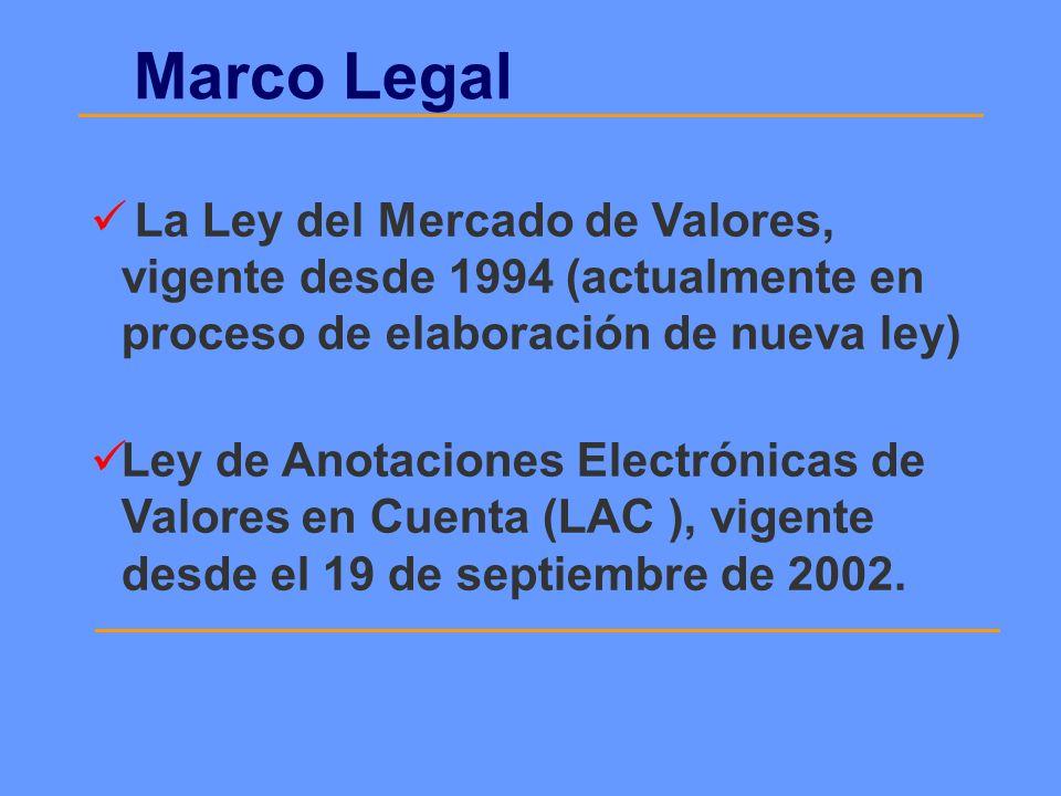 Marco LegalLa Ley del Mercado de Valores, vigente desde 1994 (actualmente en proceso de elaboración de nueva ley)