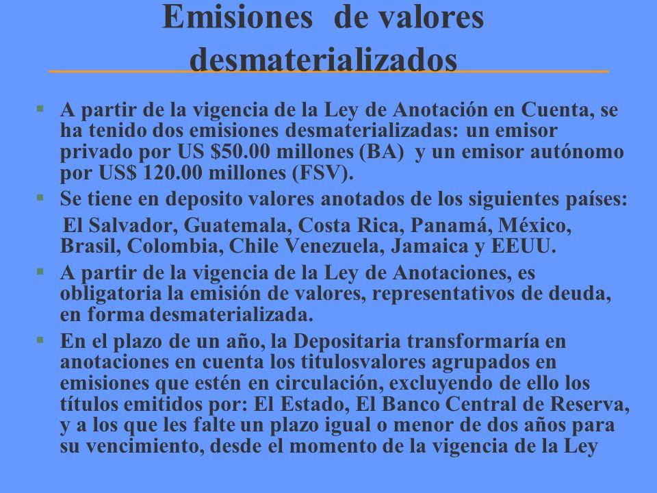 Emisiones de valores desmaterializados