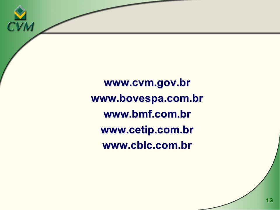 www.cvm.gov.br www.bovespa.com.br www.bmf.com.br www.cetip.com.br www.cblc.com.br