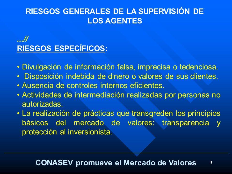 RIESGOS GENERALES DE LA SUPERVISIÓN DE LOS AGENTES