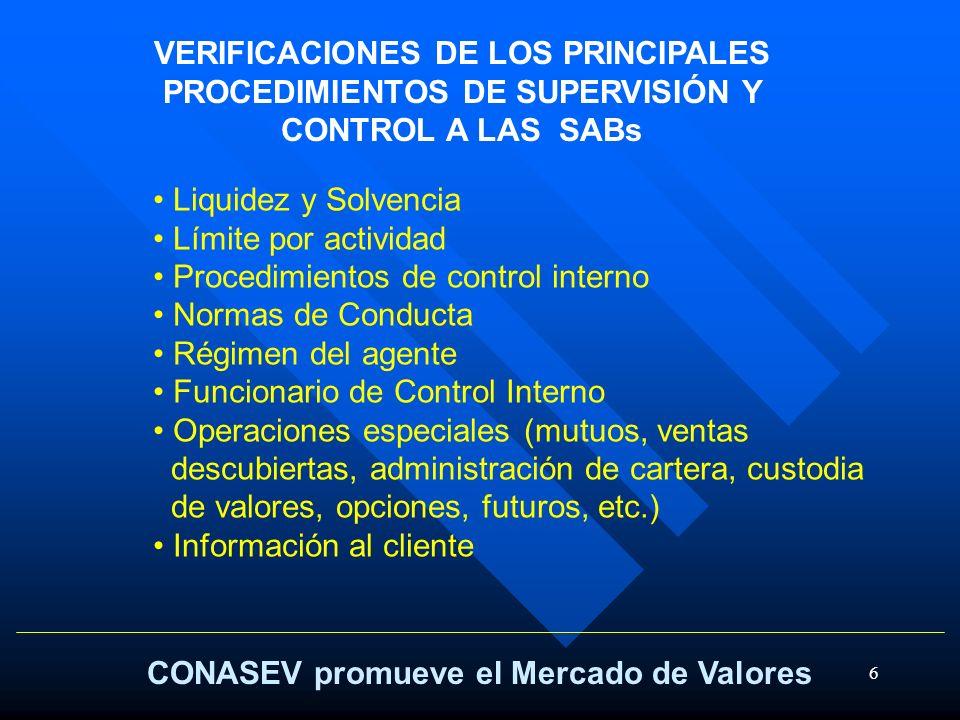 VERIFICACIONES DE LOS PRINCIPALES PROCEDIMIENTOS DE SUPERVISIÓN Y CONTROL A LAS SABs