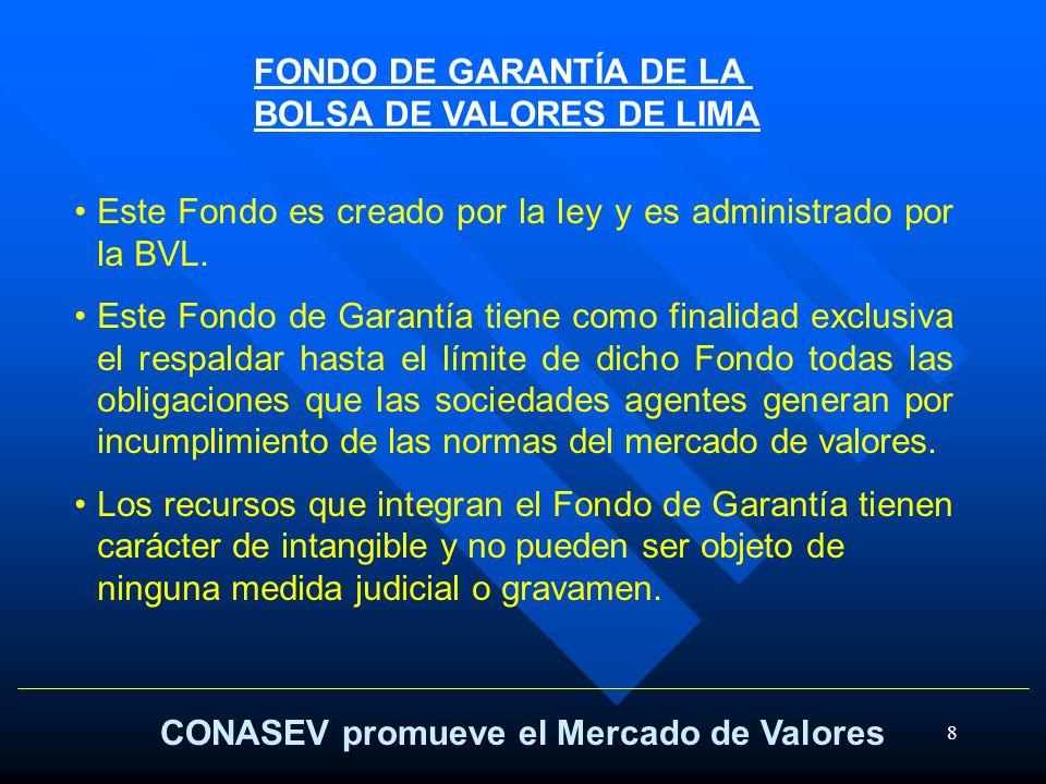 FONDO DE GARANTÍA DE LA BOLSA DE VALORES DE LIMA. Este Fondo es creado por la ley y es administrado por la BVL.