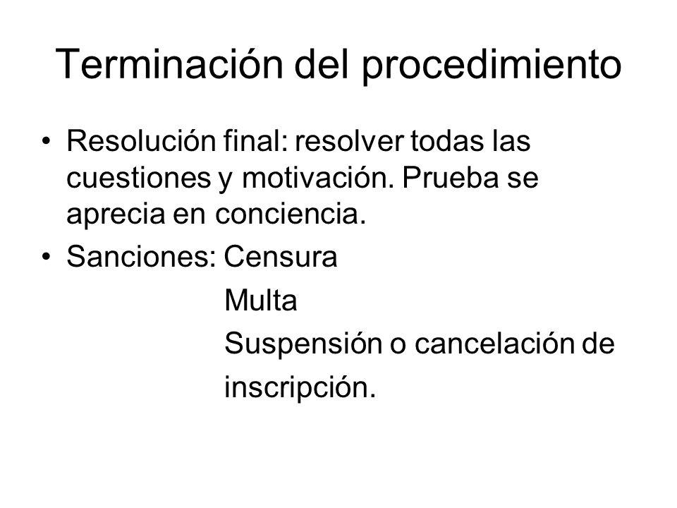 Terminación del procedimiento