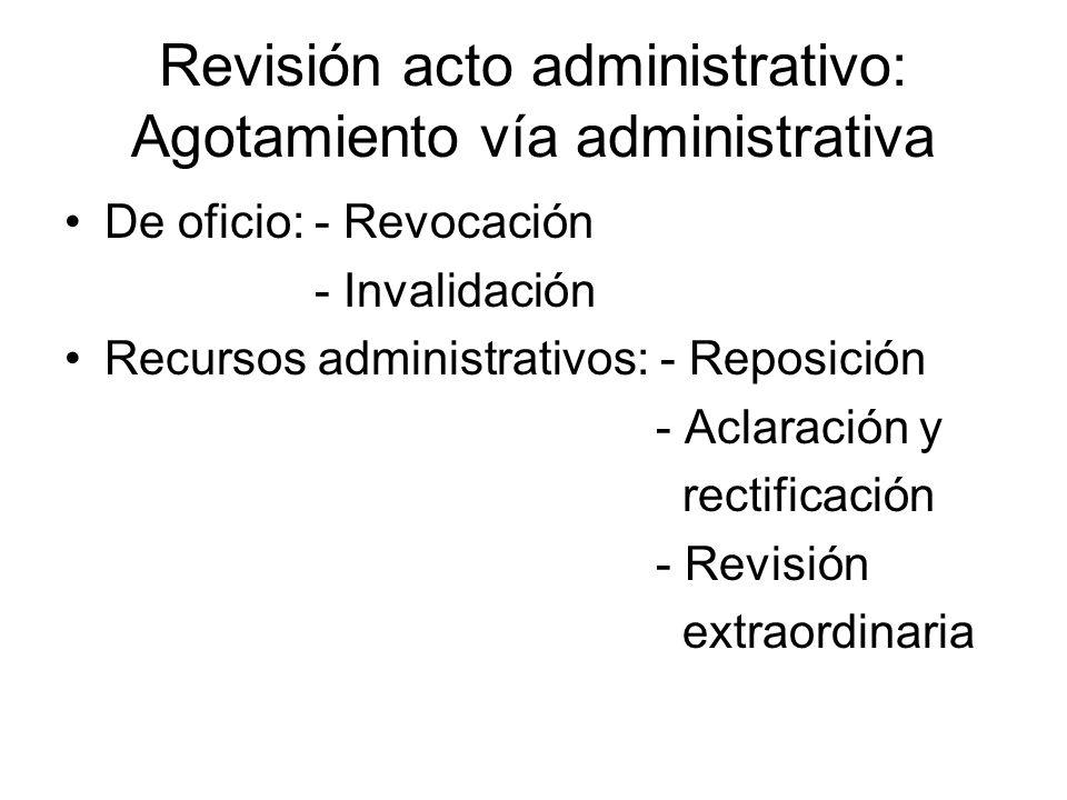 Revisión acto administrativo: Agotamiento vía administrativa