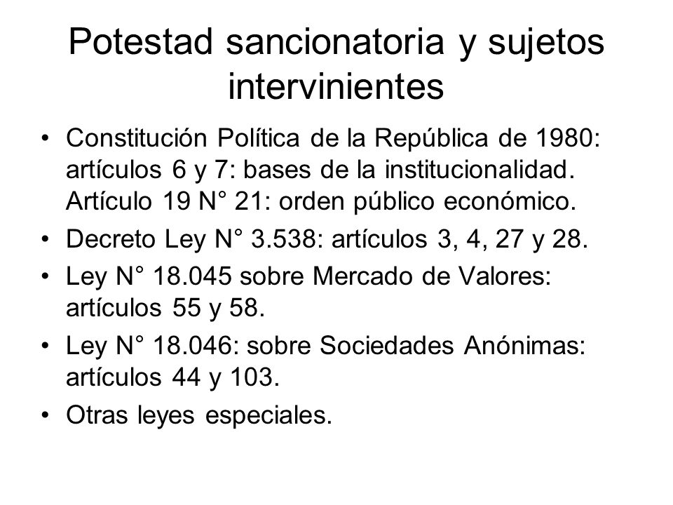 Potestad sancionatoria y sujetos intervinientes