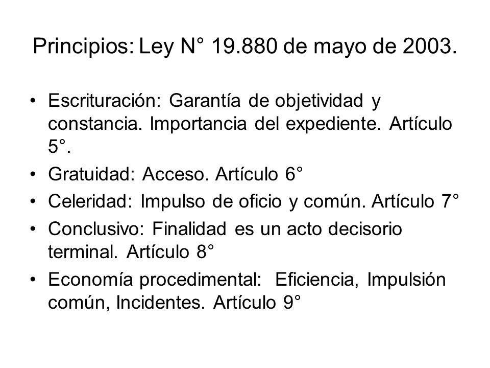 Principios: Ley N° 19.880 de mayo de 2003.