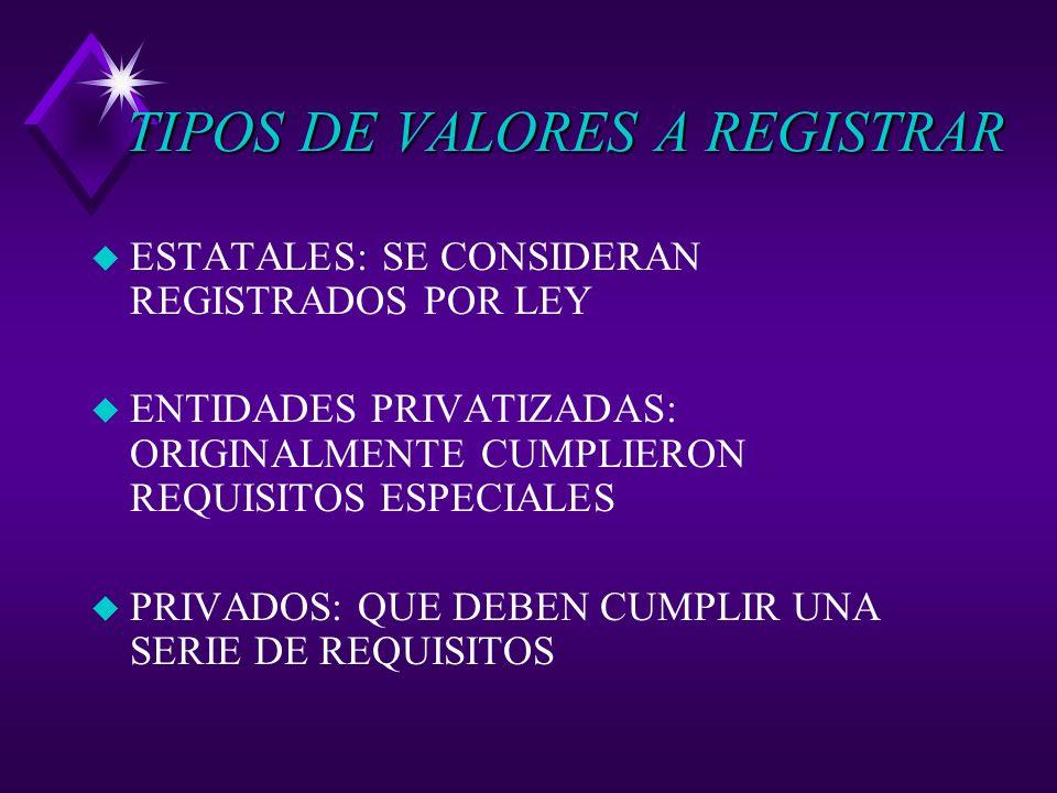 TIPOS DE VALORES A REGISTRAR