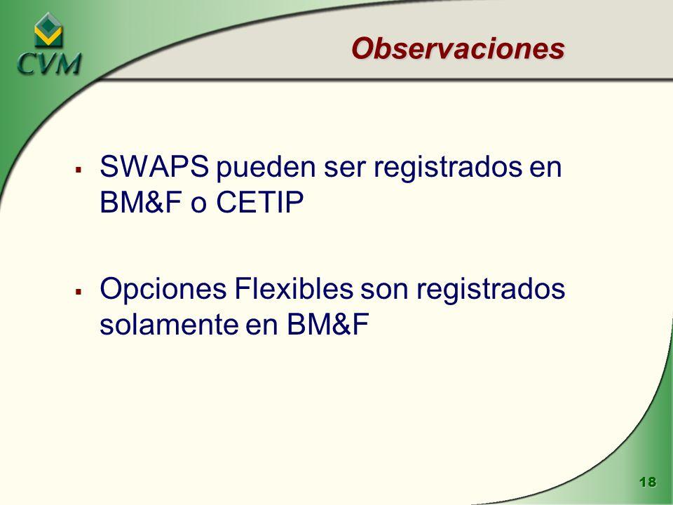 Observaciones SWAPS pueden ser registrados en BM&F o CETIP.