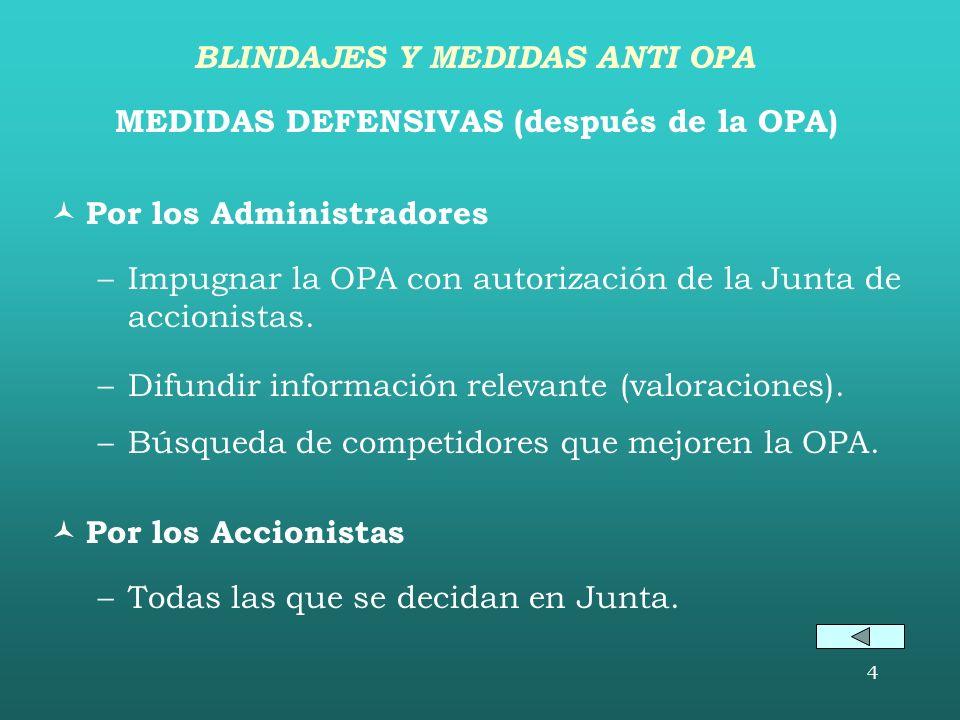 BLINDAJES Y MEDIDAS ANTI OPA MEDIDAS DEFENSIVAS (después de la OPA)