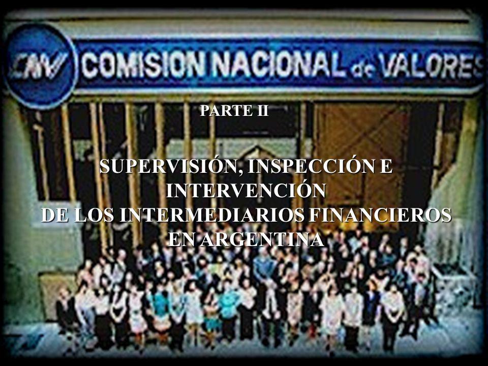 PARTE II SUPERVISIÓN, INSPECCIÓN E INTERVENCIÓN DE LOS INTERMEDIARIOS FINANCIEROS EN ARGENTINA