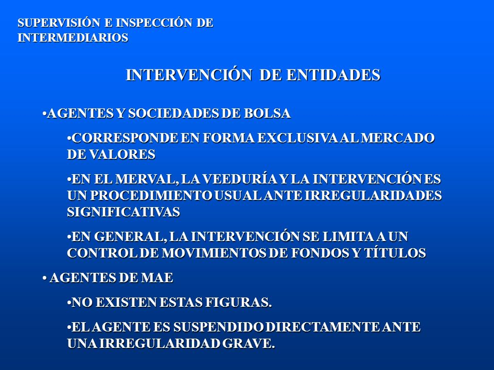 INTERVENCIÓN DE ENTIDADES
