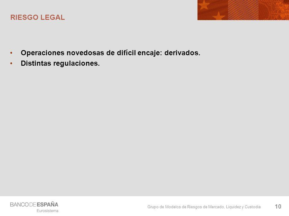 RIESGO LEGAL Operaciones novedosas de difícil encaje: derivados. Distintas regulaciones.