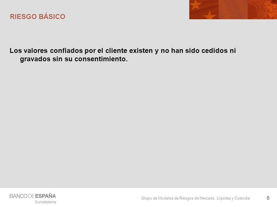 RIESGO BÁSICO Los valores confiados por el cliente existen y no han sido cedidos ni gravados sin su consentimiento.