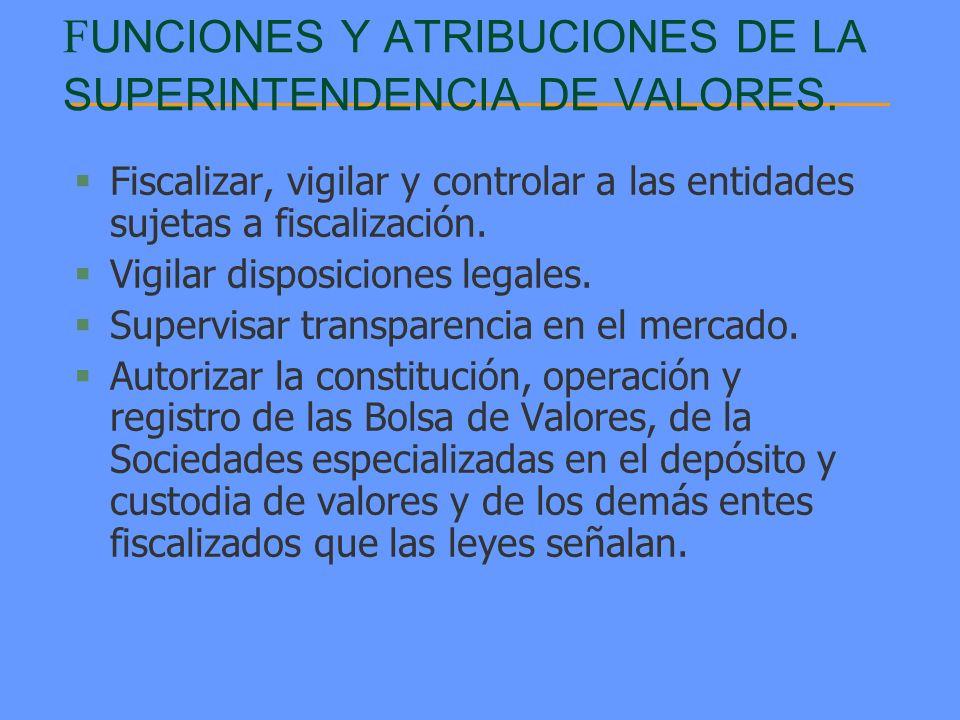 FUNCIONES Y ATRIBUCIONES DE LA SUPERINTENDENCIA DE VALORES.