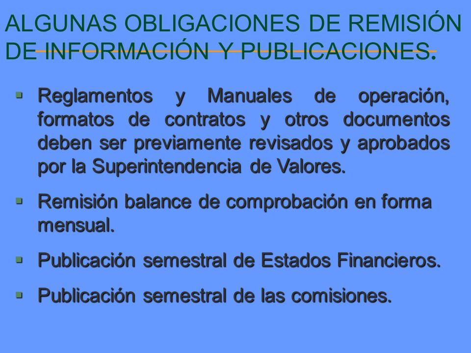 ALGUNAS OBLIGACIONES DE REMISIÓN DE INFORMACIÓN Y PUBLICACIONES.