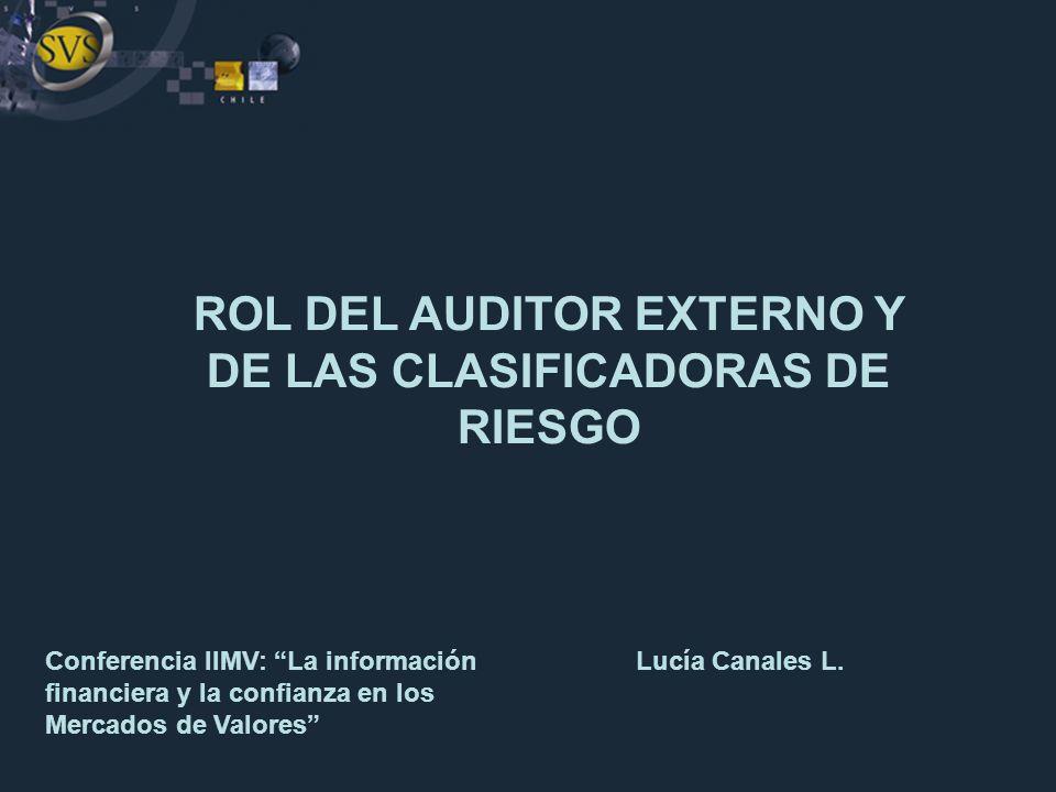 ROL DEL AUDITOR EXTERNO Y DE LAS CLASIFICADORAS DE RIESGO
