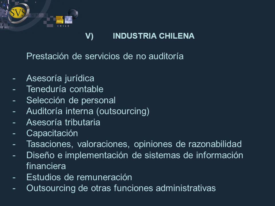 V) INDUSTRIA CHILENA Prestación de servicios de no auditoría