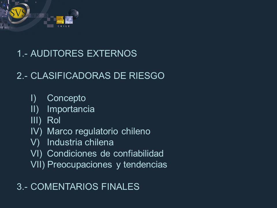 1.- AUDITORES EXTERNOS 2.- CLASIFICADORAS DE RIESGO. I) Concepto. II) Importancia. III) Rol. IV) Marco regulatorio chileno.