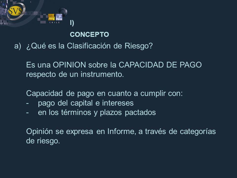 I) CONCEPTO a) ¿Qué es la Clasificación de Riesgo