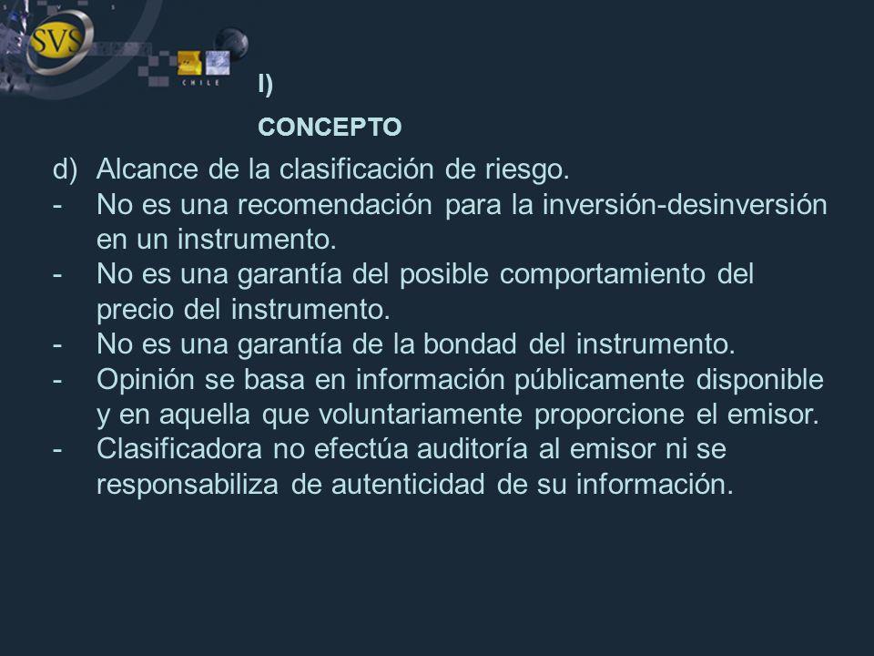 I) CONCEPTO d) Alcance de la clasificación de riesgo.