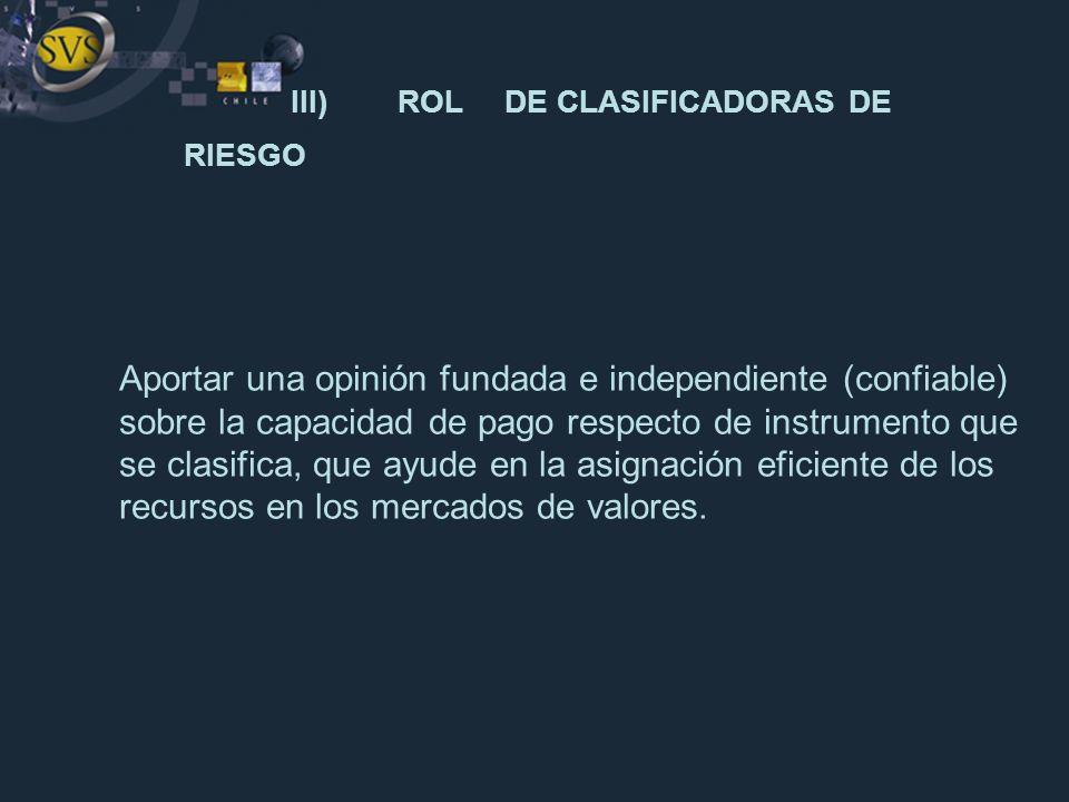 III) ROL DE CLASIFICADORAS DE RIESGO