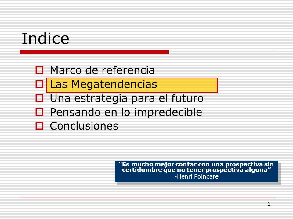 Indice Marco de referencia Las Megatendencias