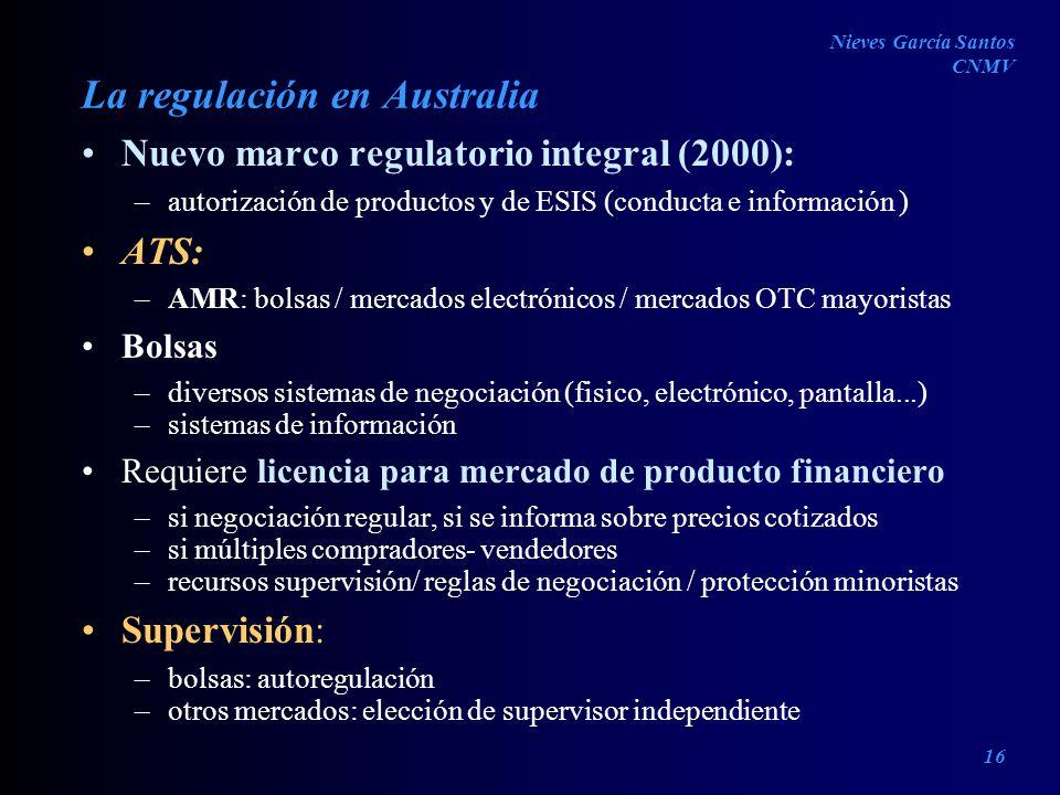 La regulación en Australia