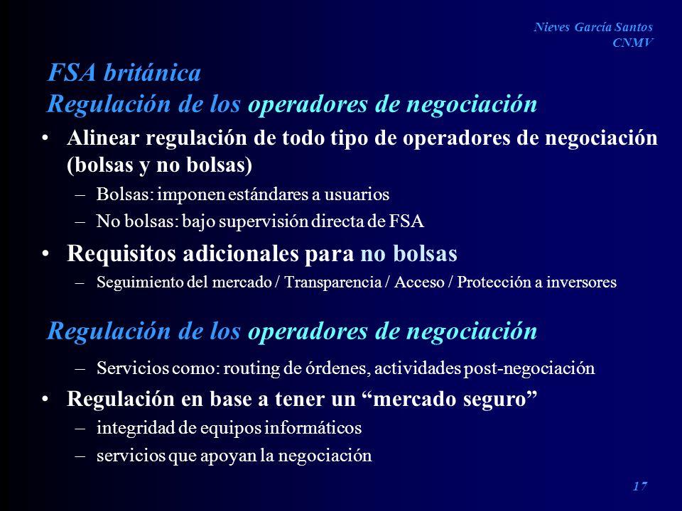 Regulación de los operadores de negociación