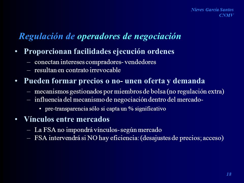 Regulación de operadores de negociación