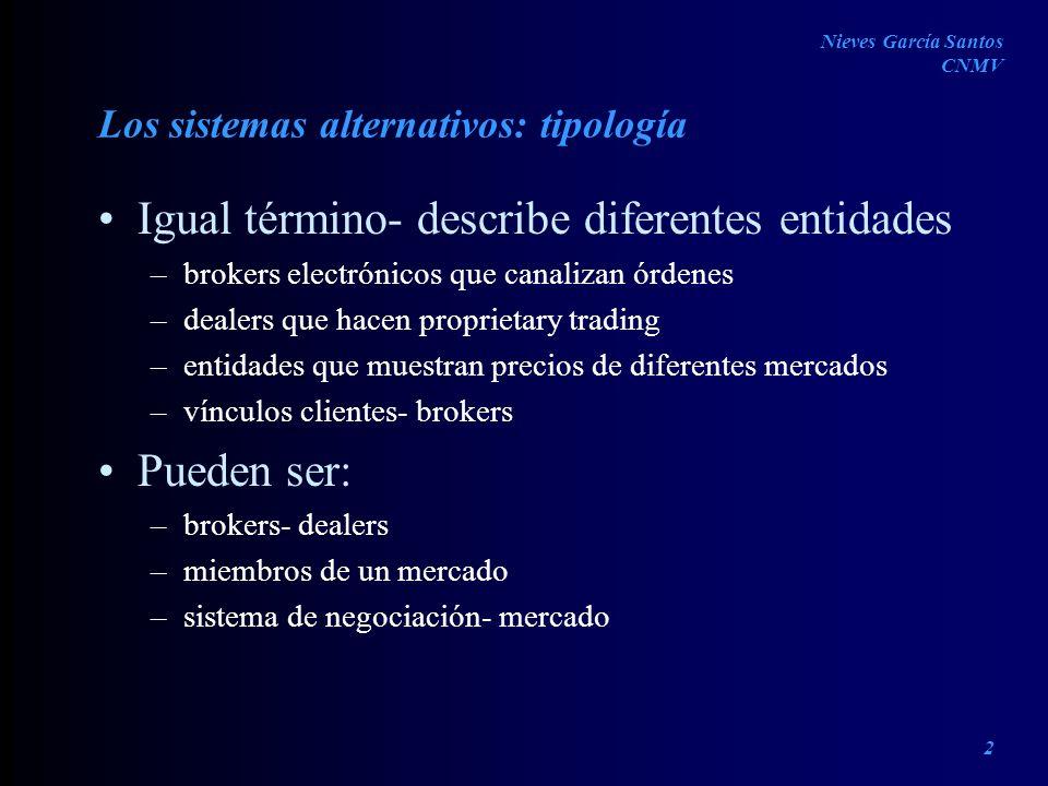 Los sistemas alternativos: tipología