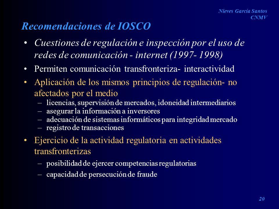 Recomendaciones de IOSCO