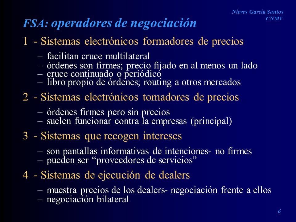 FSA: operadores de negociación