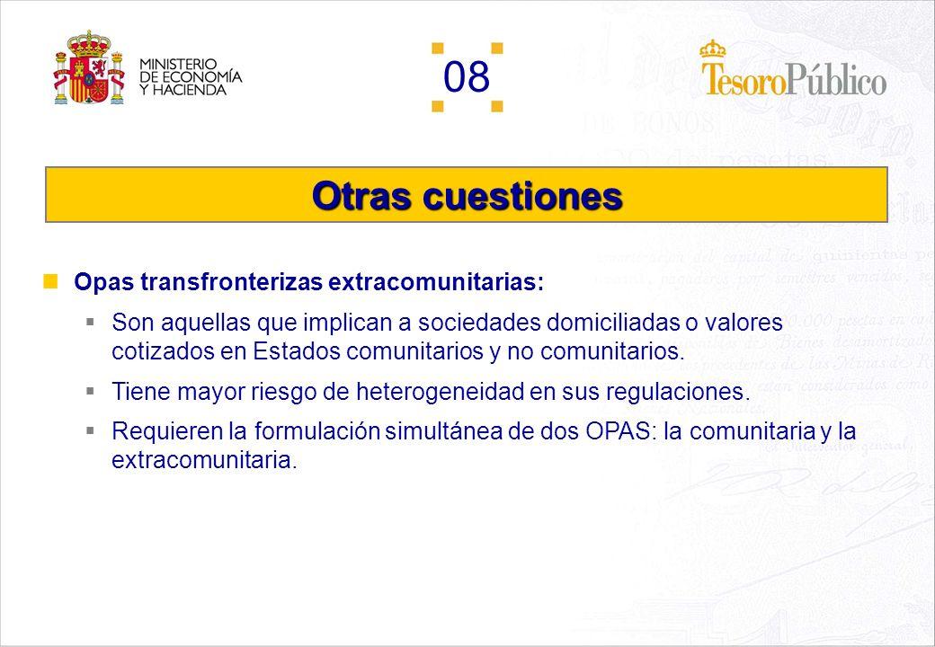 Otras cuestiones Opas transfronterizas extracomunitarias: