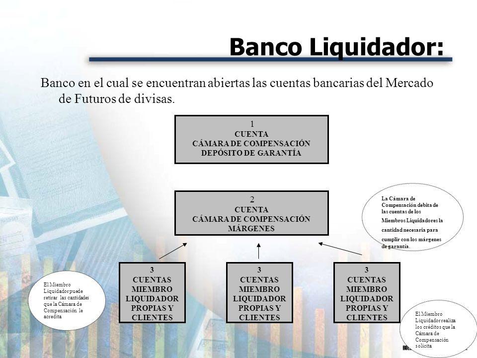 Banco Liquidador:Banco en el cual se encuentran abiertas las cuentas bancarias del Mercado de Futuros de divisas.