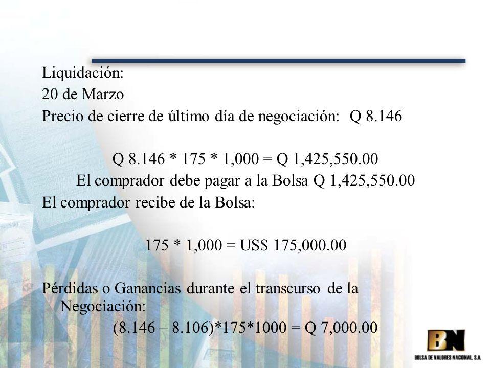 El comprador debe pagar a la Bolsa Q 1,425,550.00