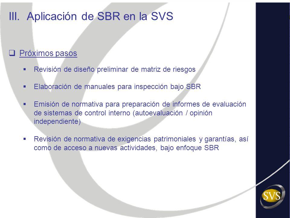 III. Aplicación de SBR en la SVS