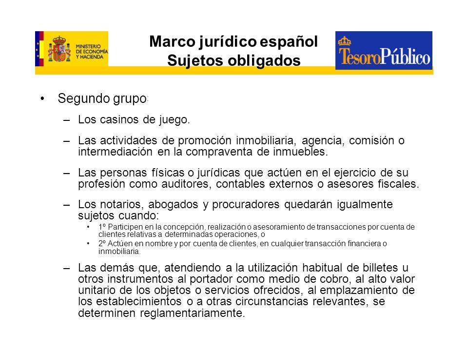 Marco jurídico español Sujetos obligados